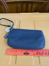 New Blue Leather Wristlet Coach Phone Wallet with Tag amp; Wrist Strap $60.00