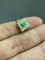 Russian Vintage 14k 583 Rose Gold Classic Ring Diamonds 0.54 Ct And Emerald