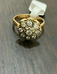 Russian Vintage 14k 583 Rose Gold Classic Star Ring With Diamonds 0.54 Ct