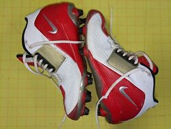 Nike Zoom Air Alpha Project Menand039s Football Cleats Size 9 White Red Pre-owned