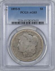 1893-s Morgan Silver Dollar The Key Date Perfect Ag03 1 - Pcgs Ag03 -