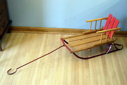 Vintage Wood Children's Snow Sled W Pull Rare Old Country Farm Home Decor Sears