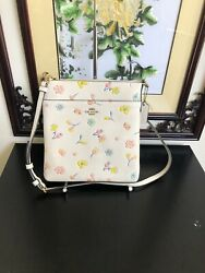 Coach Kitt Leather Crossbody With Watercolor Floral Print C2845 Chalk Multi $119.99