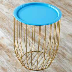 Storage Accent Table Open Metal Wire Design Removable Blue Tray Lid Access