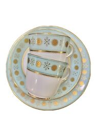 Antique Minton Enameled Cup And Saucer Plate Turquoise Blue Gold Encrusted Trio
