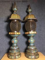Chinese Bronze Cloisonne Enamel Palace Dynasty Light Lamp Lights Stand Lampstand