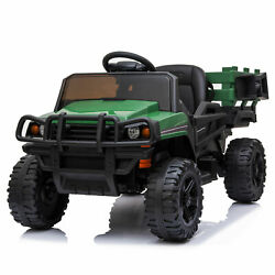 12v Electric Battery Powered Toy Tractor W/trailer Car For Toddler W/led Light