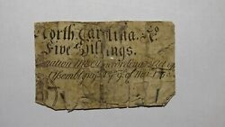 1754 Five Shillings North Carolina Nc Colonial Currency Note Bill 5s Rare