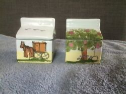 Lot 2 Hand Made Hand Painted Ceramic Milk Carton Shaped Trinket Boxes