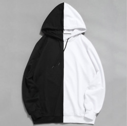 Black And White Hooded Stitching Sweater Spring And Autumn Loose Fashion
