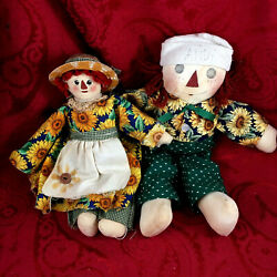 Vintage Primitive Raggedy Anne And Andy Handmade 12 Inch Dolls