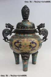 27 Chinese Bronze Cloisonne Lion Foot Two Dragon Play Bead Incense Burner Censer