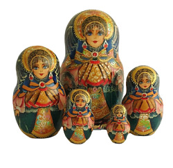 Russian Nesting Dolls Stacking Matriochka-costume Traditional Painted At Hand By
