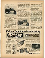 1956 Shaw Mfg. Co. Ad Shaw Du-all Garden And Small Farm Tractors - Galesburg Ks