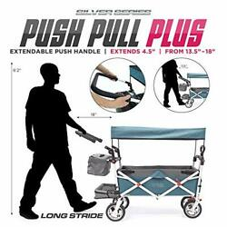 Creative Outdoor Push Pull Collapsible Folding Wagon   Silver Teal / Gray