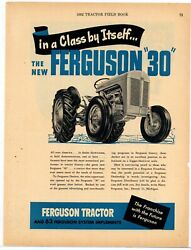 1952 Ferguson 30 Tractor Ad In A Class By Itself - The Franchise W The Future