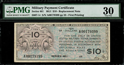 Military Payment Certificate - Mpc - Series 461 10 Replacement Note - Pmg 30
