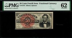 Fr-1374 0.50 Fourth Issue Fractional Currency - 50 Cent - Pmg 62 Uncirculated