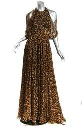 Womens Animal Print Flowing Pleated Goddess Maxi Long Gown Dress Us6 It42
