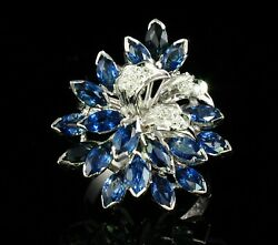 Vintage Natural 4.15ctw Blue Sapphire And Diamond 14k Gold Cocktail Cluster Ring