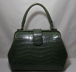 Carry Land quot;Americaquot; Green Alligator Print Small Satchel Purse Footed $10.50
