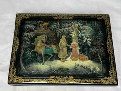 Amazing Large Handpainted Russian Laquer Box- Signed - Stunning Details
