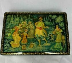 Amazing Vintage Handpainted Russian Laquer Box- Signed - Stunning Details