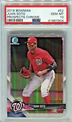 Juan Soto 2018 Bowman Chrome Refractor / 499 Rookie Psa 10 Gem Mint Hot