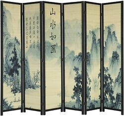 6-panel Bamboo Screen Freestanding Room Divider With Asian Calligraphy Design