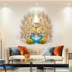 Luxury Peacock Large Wall Clock 3D Metal Living Room Wall Watch Home Deco