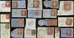 Gb Qv Penny Reds Duplex Postmarks On Piece..variation Types Towns..priced Singly