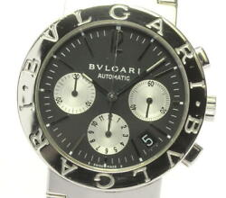 bvlgari Bb38ssch Stainless Steel Antique Chronograph Wristwatch Japan Shipped