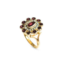 Antique Georgian 22ct Gold Garnet And Seed Pearl Ring - Very Rare Size P1/2
