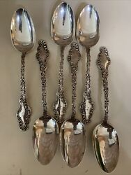 Set Of 6 Durgin Sterling Silver Watteau 8 1/8andrdquo Large Table Serving Spoons