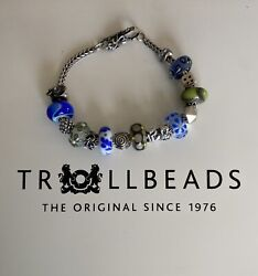 Authentic Trollbeads Bracelet With Genuine Blue/green Glass And Silver Beads.