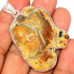 Rare Blue Forest Petrified Wood Pendant Natural Necklace 925 Fossil Jewelry P642