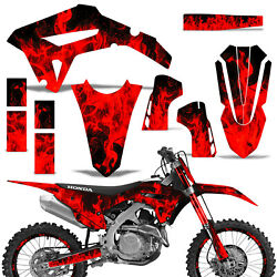 Mx Dirt Bike Graphics Kit Decal Wrap For Honda Crf450r 2021 Flames Red