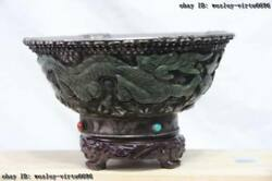 3.7 Tibet Nobility Green Jade Silver Lucky Wealth Two Dragon Paly Bead Pot Bowl