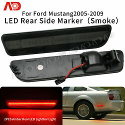 For Ford Mustang 2005-2009 Red Led Side Marker Light Rear Bumper Smoked Lens