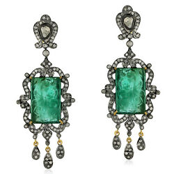 28.9ct Carved Emerald Pave Diamond Chandelier Earrings 18kt Gold Silver Jewelry