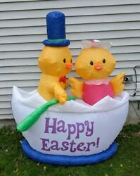 Easter Chickens Boat Blow Up Airblown Inflatable Decor Garden Lights Baby Chicks