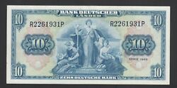 Germany Federal Republic 10 D. Mark 1949 Xf P. 16 Banknote Circulated