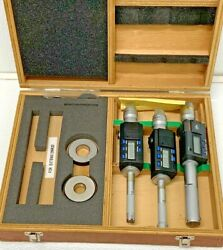Mitutoyo 468-967 3pc Set Digimatic Holtest Inside Bore Micrometer Rings .5-1 35c