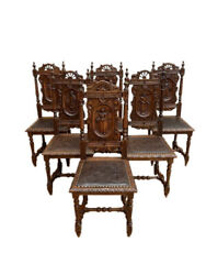 Antique French Breton Dining Chairs, Set Of Six, Pressed Leather, Turn Of Centur