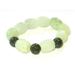 Carved Gemstone Diamond Pave Beaded Bracelet 925 Sterling Silver Fashion Jewelry