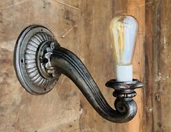 Restored 1920's Antique Art Deco Wall Sconce Light Fixture Lamp Cast Iron And Bulb