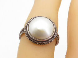 925 Sterling Silver - Vintage Pearl Dome Wheat Band Cocktail Ring Sz 6.5- Rg5922