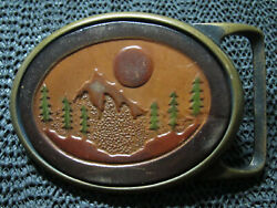 Hippie Forest Mountain Leather Belt Buckle Vintage Rare Tech Ether X Colonial