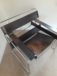 Vintage Mcm Marcel Breuer Wassily Style Chrome Black Leather Sling Lounge Chair