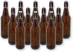 16.9 Oz Swing Top Bottles Amber Glass Reusable Homebrew Beer Brewing Pack Of 12